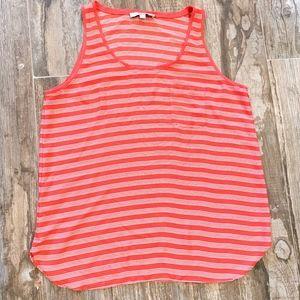 LOFT Red / White Striped Tank Top